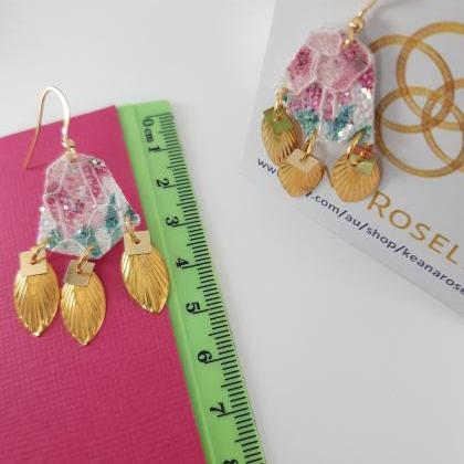 Faux Leather Earrings, Floral Faux ..