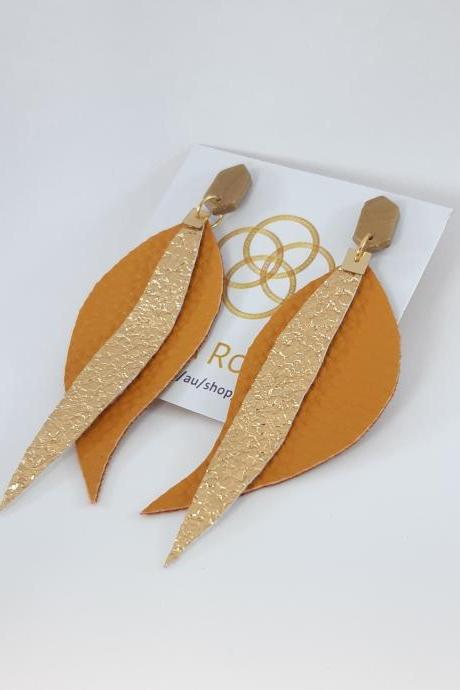 Faux Leather Earrings, Mustard Glitter Faux Leather Earrings, Long Faux Leather Earrings, Woman Earring, Faux Leather Gift Earring, DIY GIFT