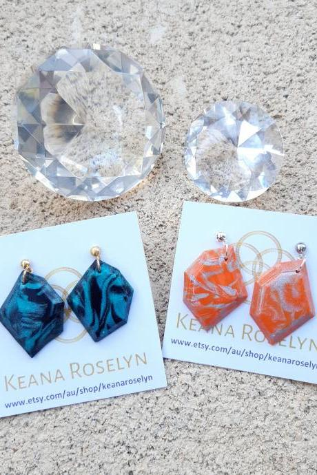 Polymer Clay Earrings, Emerald Tangarine, Nonagon Hexagon Shape, Polymer Clay Dangle & Drop Earrings, Statement Earrings, Emerald Tangarine